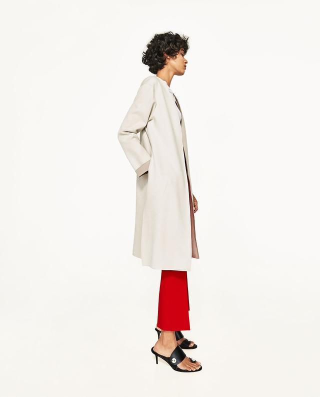 Zara Long Faux Suede Jacket