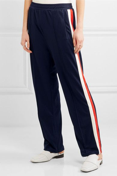 Ganni Naoki Striped Stretch-Jersey Track Pants