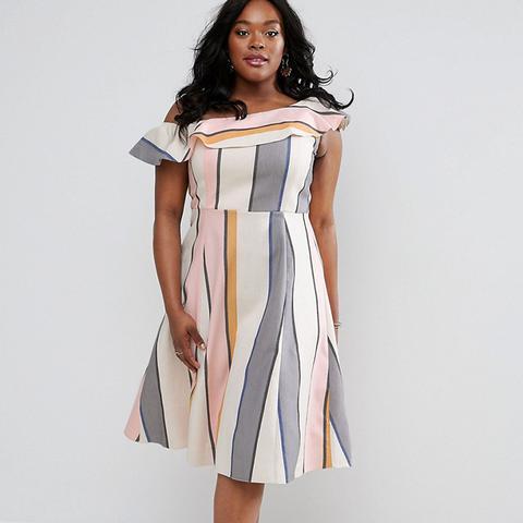 One Shoulder Stripe Midi Sundress