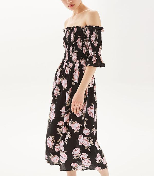 best topshop dress- Floral Shirred Bardot Dress
