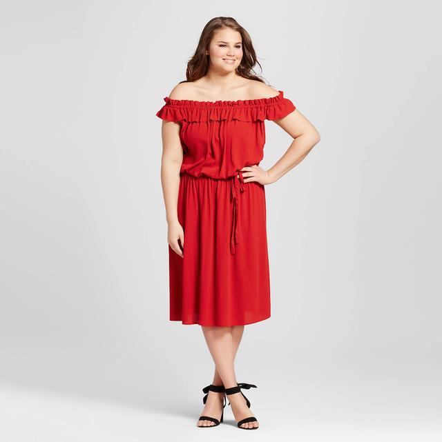 Who What Wear Plus-Size Bardot Midi Dress