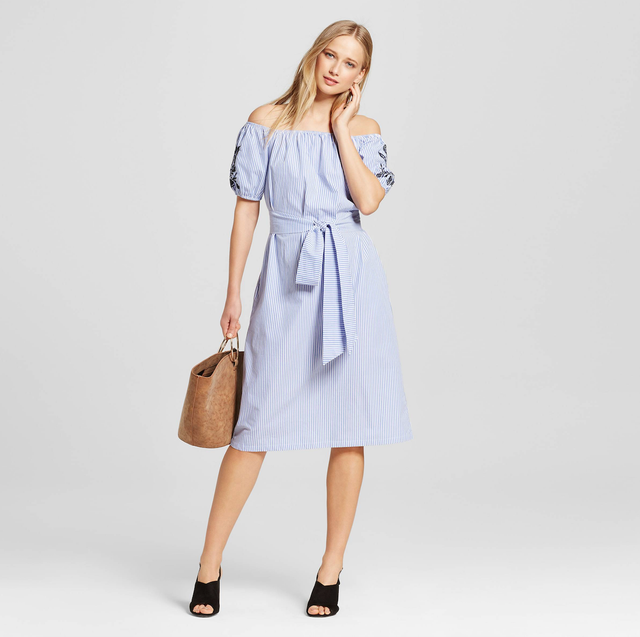 Who What Wear Embroidered Belted Bardot Dress
