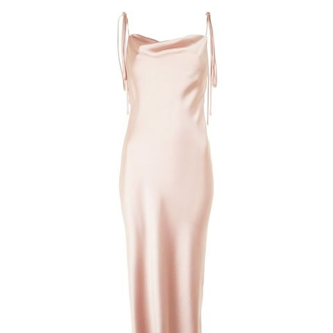 Cowl Tie Satin Slip Dress