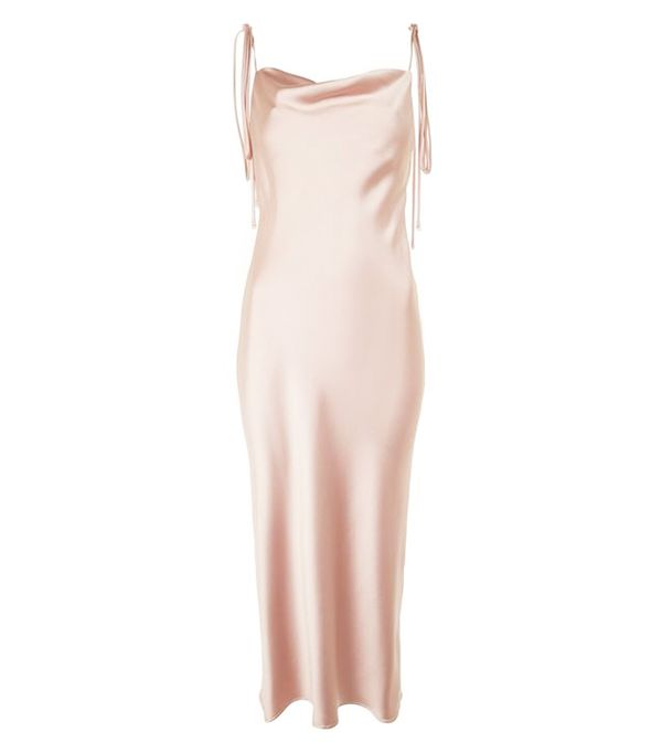 Topshop Cowl Tie Satin Slip Dress