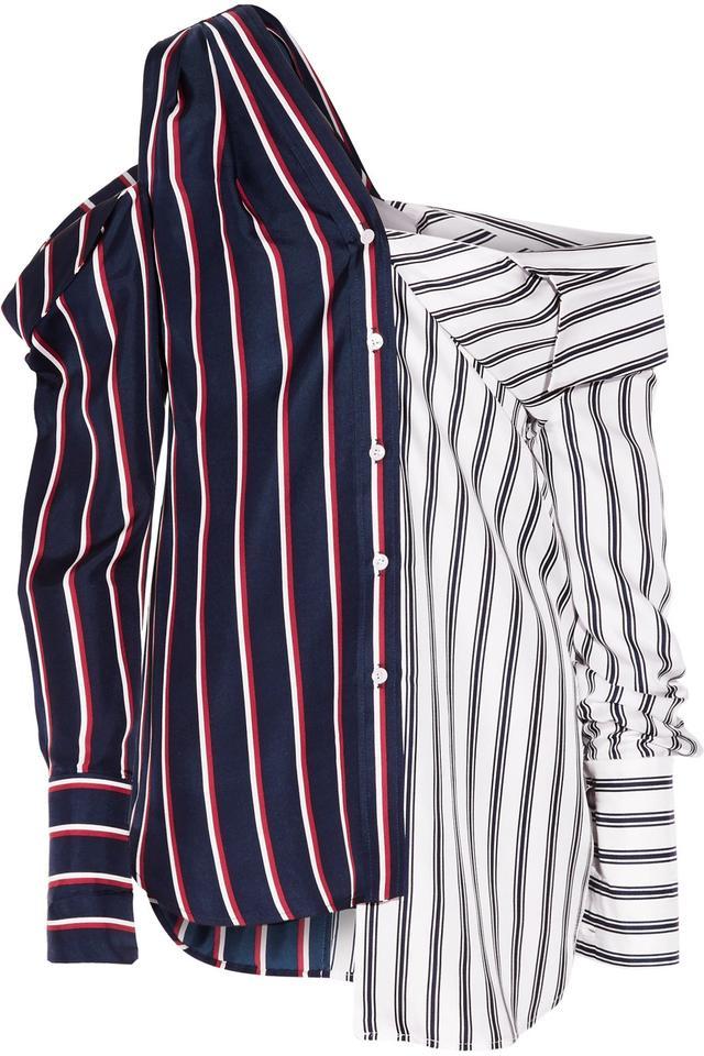Monse Cold-Shoulder Striped Shirt