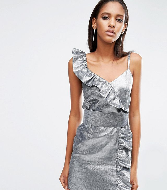 ASOS Tall Night Silver 80s Ruffle Mini Dress