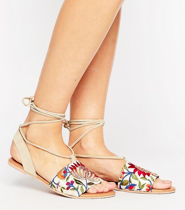 ASOS Femme Embroidered Tie Leg Flat Sandals