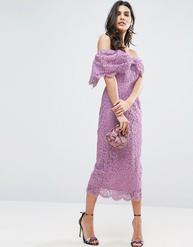 ASOS Off Shoulder Bardot Pencil Midi Dress