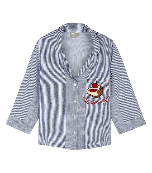 ASOS X Lot Stock & Barrel Pies Before Guys Traditional Embroidered Shirt & Long Leg Pajama Set