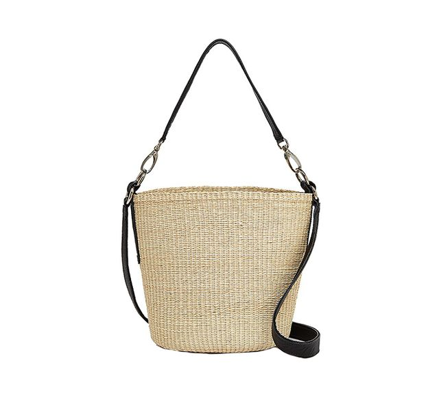 summer basket bag - Sensi Studios Straw and Leather Crossbody
