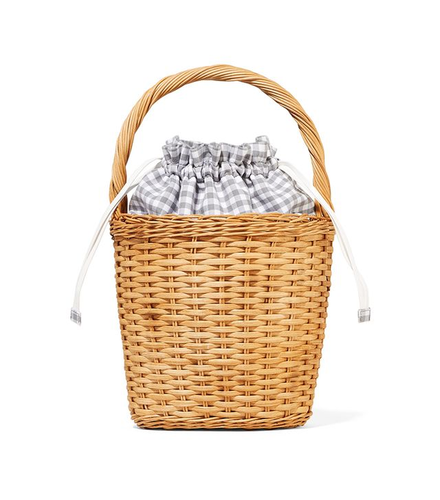 Edie Parker Lily Gingham Cotton-Paneled Wicker Tote