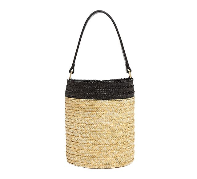 summer basket bag - Caterina Bertini Small Straw Bucket Bag