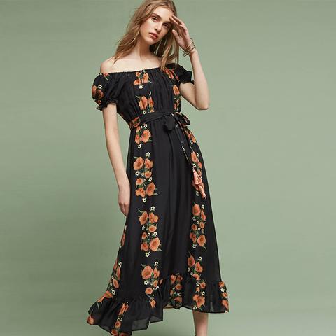 Reanna Silk Midi Dress