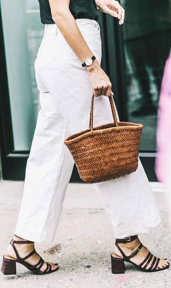 basket bag trend - white culottes