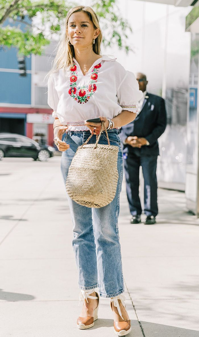 basket bag trend - embroidered top