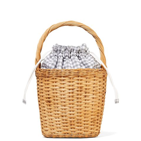 Lily Gingham Cotton-Paneled Wicker Tote