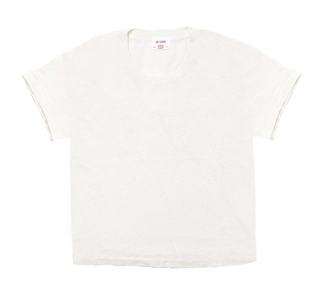 best white tee: Re/Done | Hanes the 1950s boxy tee