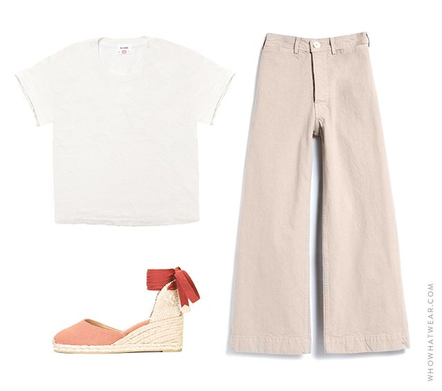 Pictured: Re/Done | Hanes The 1950s Boxy Tee ($78); Jesse Kamm Sailor Pants in Street ($395); Castañer Carina Espadrilles ($83).