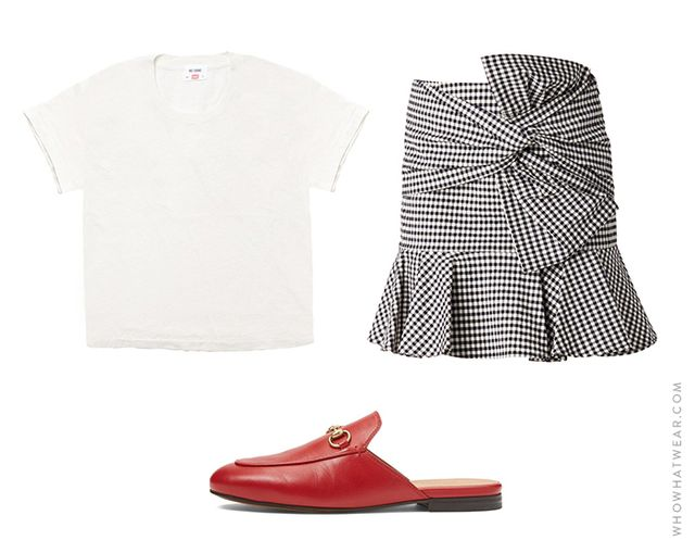 Pictured: Re/Done | Hanes The 1950s Boxy Tee ($78); Veronica Beard Gingham Picnic Box Mini Skirt ($395); Gucci Princetown Leather Slippers ($650).