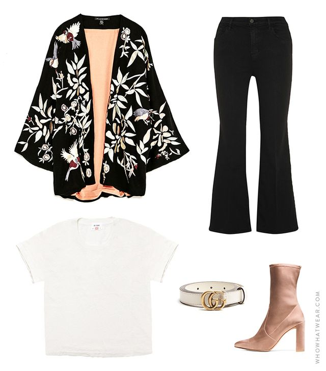 Pictured: Zara Embroidered Kimono Jacket ($149); J Brand Carolina Super High Rise Flare Jeans ($198); Stuart Weitzman The Clinger Booties in Stretch Satin Adobe ($575); Gucci Leather Belt With...