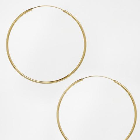 Gold Plated Sterling Silver 60mm Hoop Earrings