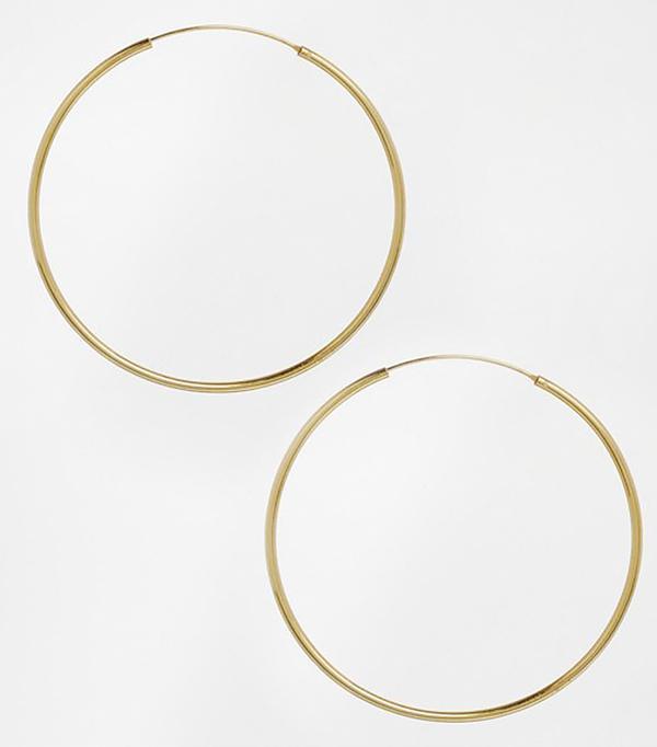 Asos Gold Plated Sterling Silver 60mm Hoop Earrings