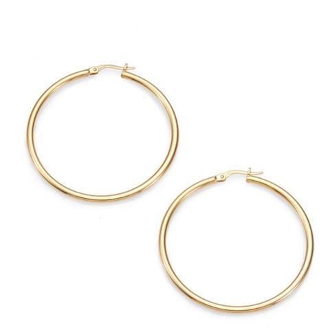 "18K Yellow Gold Hoop Earrings/1.75"""