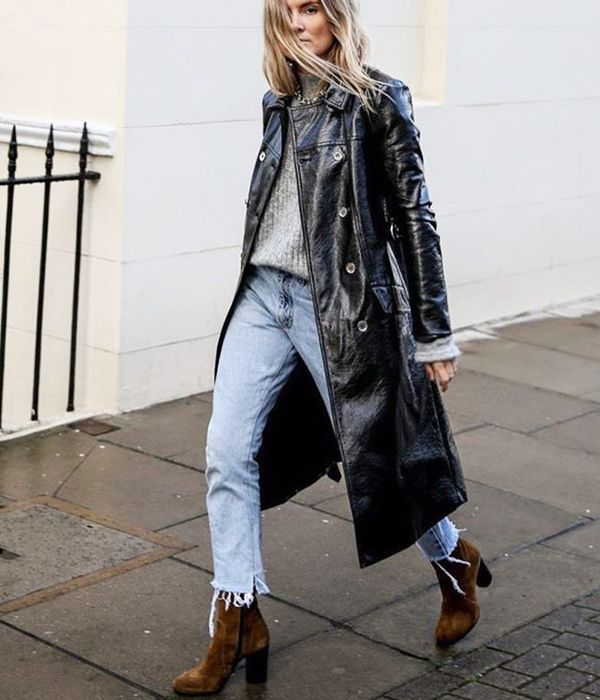 what to wear with brown boots - patent leather coat