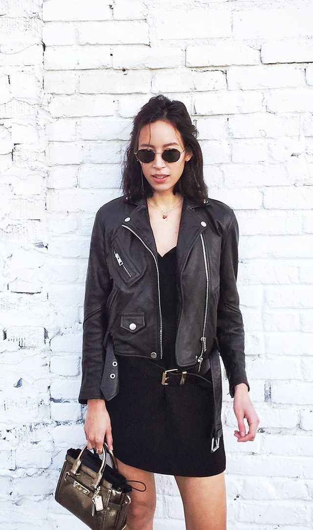 spring outfits - leather jacket black dress