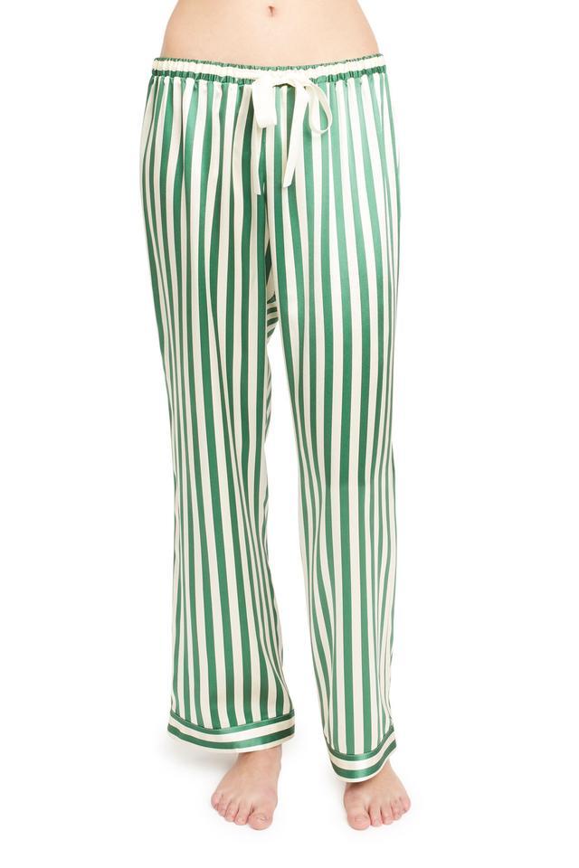 green white stripe silk pajama pants - Morgan Lane Peacock Chantal Pant in Emerald