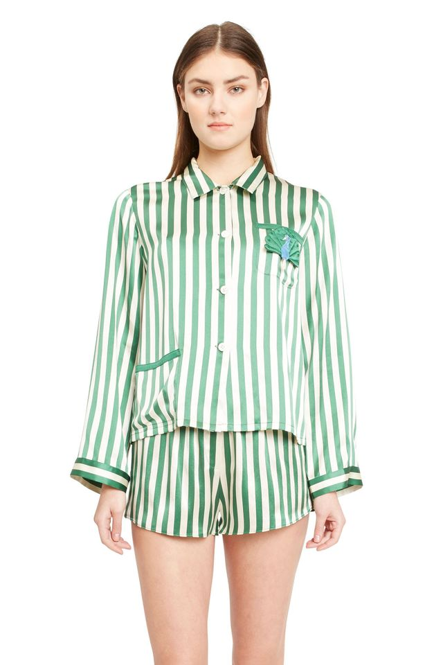 green white silk stripe pajama top - Morgan Lane Peacock Ruthie Top