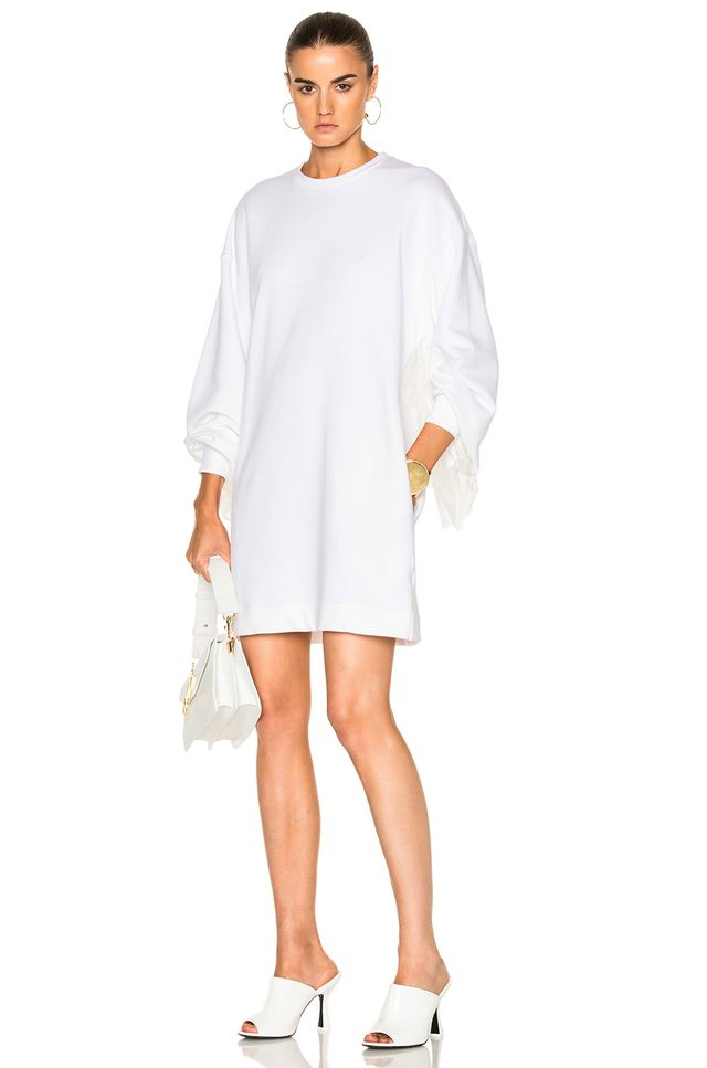 Ryan Roche Sweatshirt with Ruffle Sleeve Dress