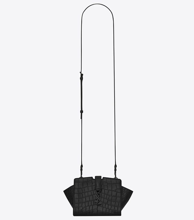 Saint Laurent Toy YSL Cabas Bag In Black Crocodile Embossed Leather