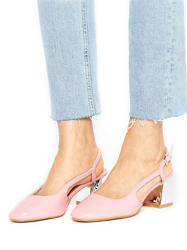 Lost Ink Wide Fit Slingback Mid Heeled Shoes