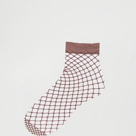 Oversized Fishnet Ankle Socks in Mauve