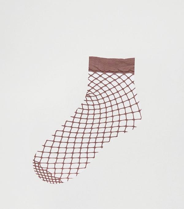 ASOS Oversized Fishnet Ankle Socks in Mauve