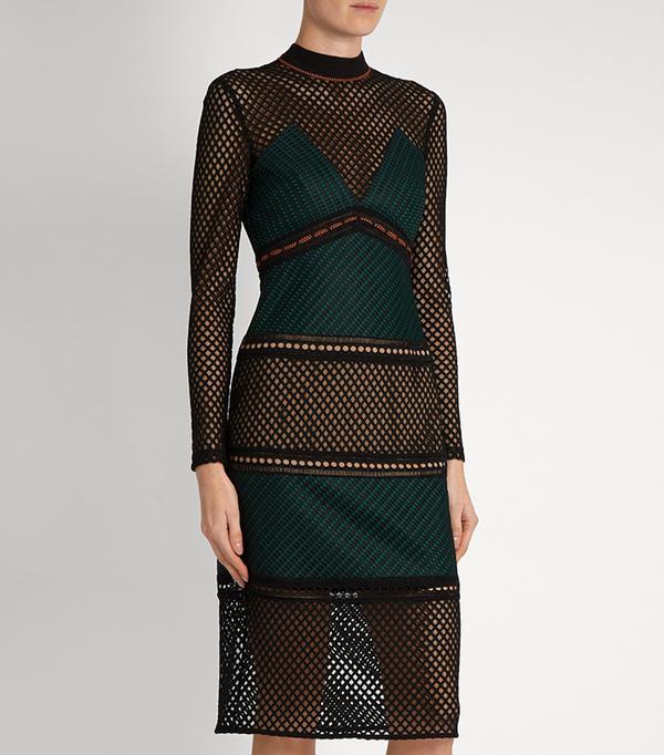 Self-portrait Forest Paneled Midi Dress