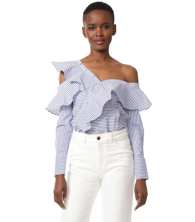 Style Mafia Striped Frill Shirt