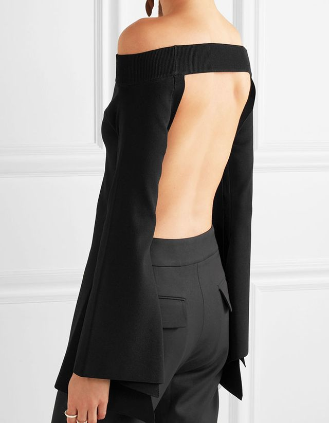 Solace London Frida Off-the-Shoulder Backless Stretch-Knit Top
