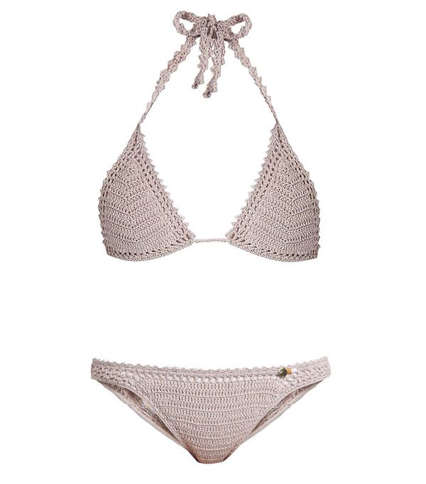 She Made Me Essential Crochet Triangle Bikini Top and Cheeky Crochet Bikini Briefs