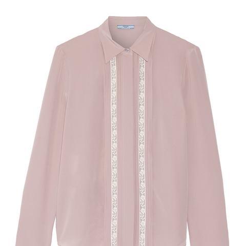 Lace-Trimmed Silk Crepe de Chine Shirt