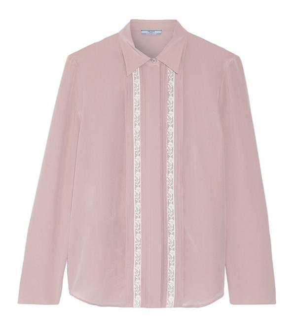 Prada Lace-Trimmed Silk Crepe de Chine Shirt