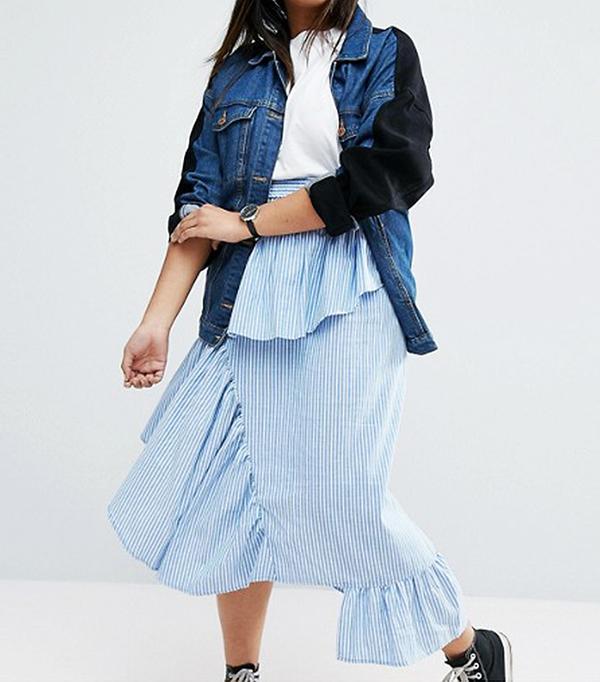 ASOS Curve Stripe Deconstructed Midi Skirt