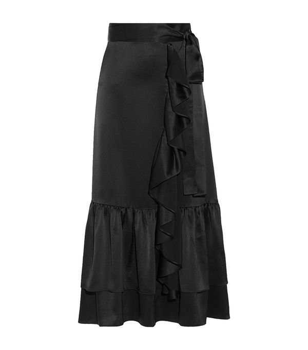 CO Ruffle-Trimmed Tiered Satin Midi Skirt
