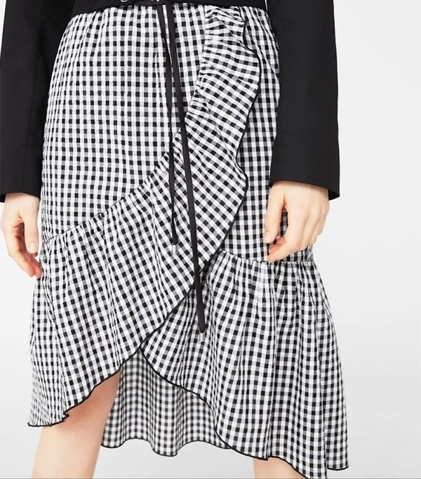 Mango Gingham Print Skirt