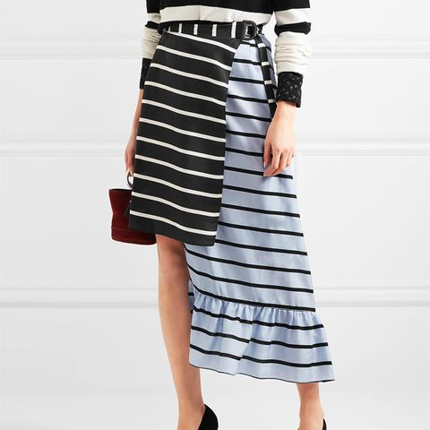 Don Striped Washed-Silk Midi Skirt