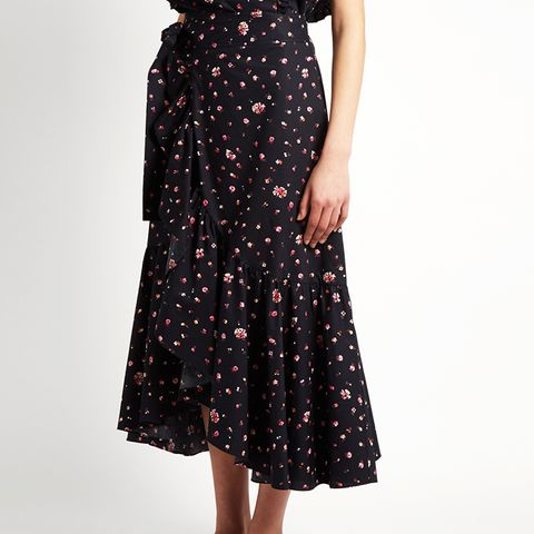 Mia Floral-Print Cotton Wrap Skirt