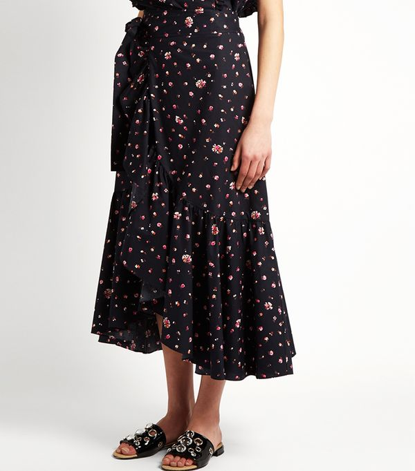 Rebecca Taylor Mia Floral-Print Cotton Wrap Skirt