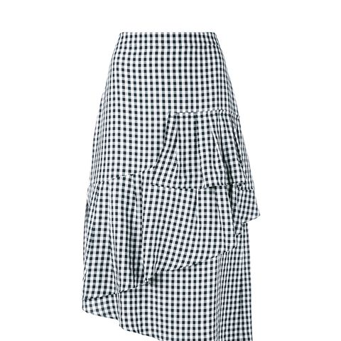 Viscose Gingham Ruffle Skirt