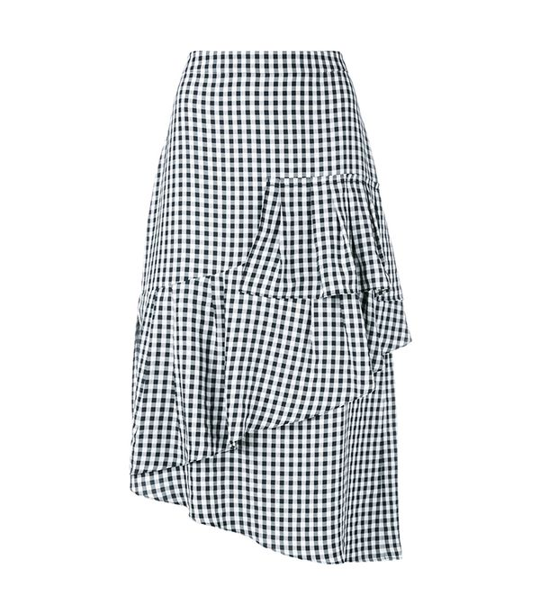 Tibi Viscose Gingham Ruffle Skirt